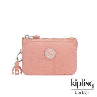 【KIPLING】奶油草莓拿鐵色三夾層配件包-CREATIVITY