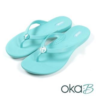 【oka-B】躍動海豚造型配飾人字夾腳涼拖鞋 湖水綠(K920DE-LGR)