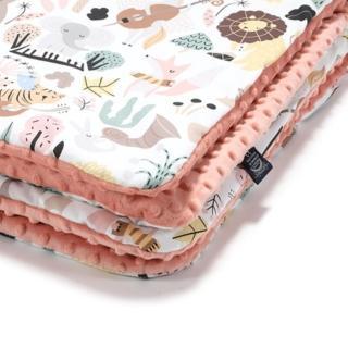 【La Millou】暖膚豆豆毯-加大款(動物交響樂-果漾蜜桃粉-四季毯寶寶毯嬰兒毯)