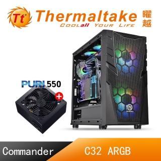 【+9元送500瓦 Thermaltake 曜越】Commander C32 ARGB風扇強化玻璃機殼(CA-1N3-00M1WN-00)