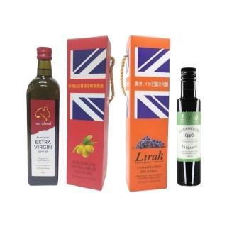 【red island 紅島】澳洲特級冷壓初榨橄欖油750ml單入禮盒+Lirah澳洲風味巴薩米可醋蘋果風味250ml單入禮盒
