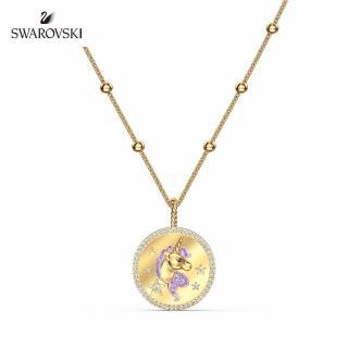 【SWAROVSKI 施華洛世奇】Unicorn 淡金色迷幻獨角獸項鍊