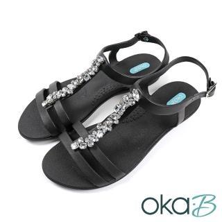 【oka-B】水鑽造型配飾輕便平底涼鞋 黑色(K420NO-BL)