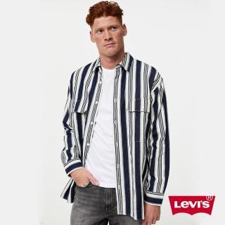 【LEVIS】男款 牛仔工裝襯衫外套 / Oversize寬鬆版型 / 精工藍染條紋-人氣新品