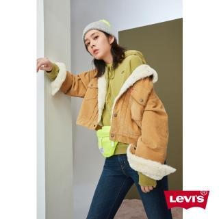 【LEVIS】女款 毛領燈芯絨飛行員外套 / 復古寬鬆中短版 / Type2摩登再造 / 拿鐵色-人氣新品