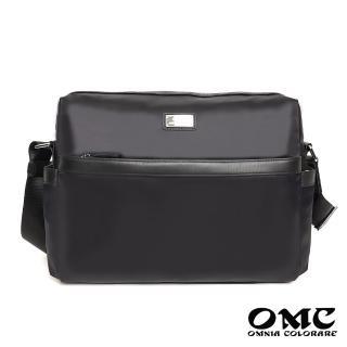 【OMC】尊榮品味大容量橫式商務斜背包(黑色)