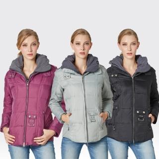 【SAMLIX 山力士】JIS90%女假兩件式防潑水羽絨外套#321(黑色.紫色.灰色)
