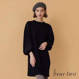 【bear two】素色抽繩澎澎袖洋裝(黑色)