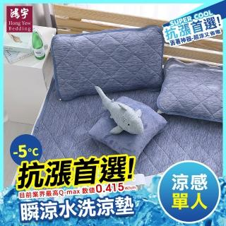 【HongYew 鴻宇】涼感-5度C 瞬涼可洗抗菌單人保潔墊(SUPERCOOL接觸涼感)