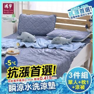 【HongYew 鴻宇】涼感-5度C瞬涼可洗抗菌保潔墊 單人三件組(SUPERCOOL接觸涼感)