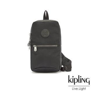 【KIPLING】極致低調黑拉鍊單肩包-SATIL