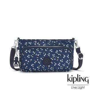 【KIPLING】手繪花朵圖騰前袋拉鍊長形肩背包-MYRTE