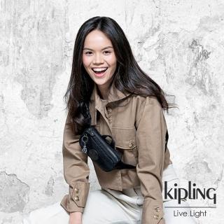 【KIPLING】極致低調黑雙層側腰包-ALYS