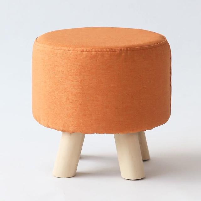 【MAMORU】買一送一_舒適棉麻實木椅腳矮凳(免組裝/布面可拆洗/椅凳置腳凳穿鞋椅圓凳)