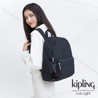【KIPLING】質感黑拉鍊後背包-BOUREE/