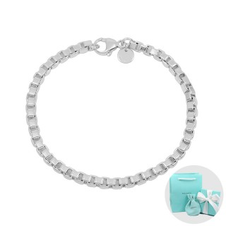 【Tiffany&Co. 蒂芙尼】Venetian威尼斯簡約鍊條造型純銀手鍊