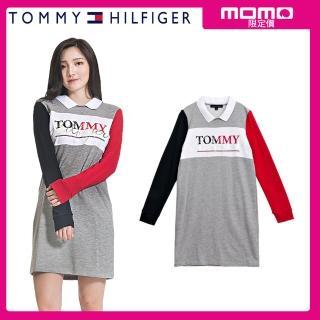 【Tommy Hilfiger】當季新品拼色/LOGO款/長版/修身洋裝