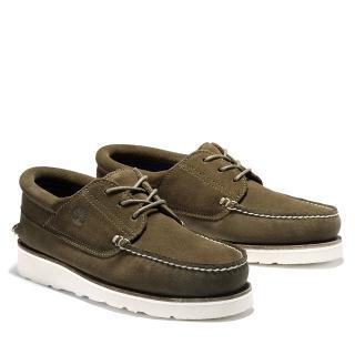 【Timberland】男款橄欖綠絨面革休閒系帶帆船鞋(A2NVE302)