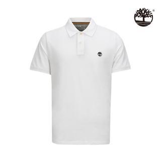 【Timberland】男款白色刺繡標誌短袖POLO衫(A2EGR100)