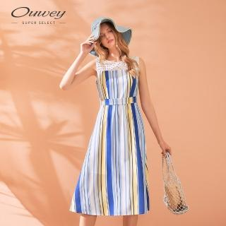 【OUWEY 歐薇】夏日撞色條紋蕾絲拼接無袖洋裝(藍)