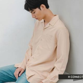 【H:CONNECT】韓國品牌 男裝 -簡約素色嫘縈襯衫(卡其色)