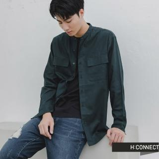 【H:CONNECT】韓國品牌 男裝 -率性圓領排扣襯衫(綠色)