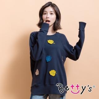 【betty's 貝蒂思】立體葉子繡線大學T恤(深藍)