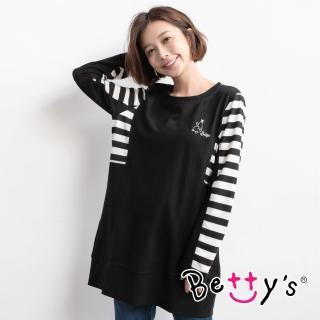 【betty's 貝蒂思】條紋拼接長版T-shirt(黑色)