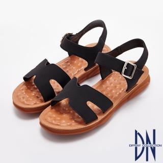 【DN】涼鞋_素面一字寬版魔鬼氈平底涼鞋(黑)