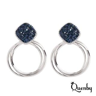 【Quenby】藍鋯石幾何多層次圓圈耳環/耳針(飾品/配件)