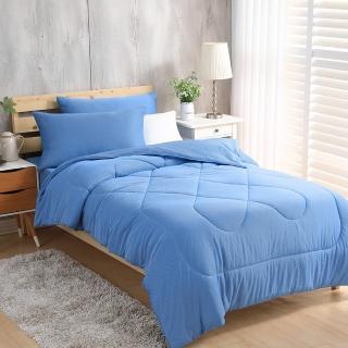 【LAMINA】條紋藍 綠能涼感紗抗菌針織四件式涼被床包組(加大)