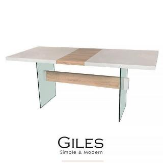 【obis】Giles強化玻璃伸縮餐桌/工作桌(白色鋼琴烤漆)