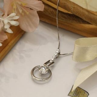 【微笑安安】細緻鑽環925純銀精鑲鋯石項鍊