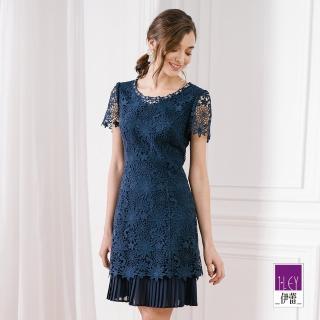 【ILEY 伊蕾】雪紡造型縷空蕾絲洋裝(紫/藍)