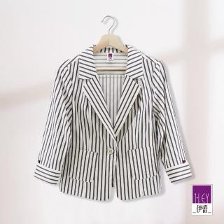 【ILEY 伊蕾】立裁條紋西裝外套(白)