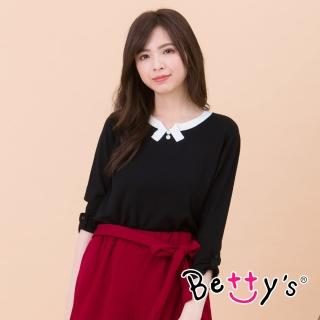 【betty's 貝蒂思】都會知性配色針織衫(黑色)