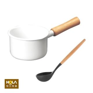 【HOLA】組琺瑯單柄牛奶鍋12cm+矽膠木桿拼接圓湯勺/