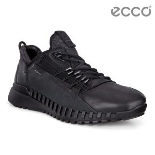【ecco】ZIPFLEX M 酷飛運動戶外休閒鞋 DYNEEMA皮革款 男鞋(黑色 80370401001)