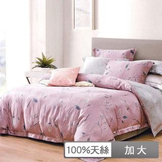 【貝兒居家寢飾生活館】100%天絲四件式全鋪棉兩用被床包組 溫莎秋語(加大)