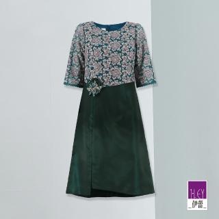 【ILEY 伊蕾】古典花卉蕾絲刺繡拼接圓領洋裝(綠)