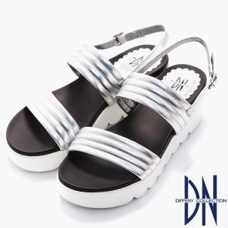 【DN】涼鞋_柔軟羊皮一字寬版繫帶厚底涼鞋(銀)