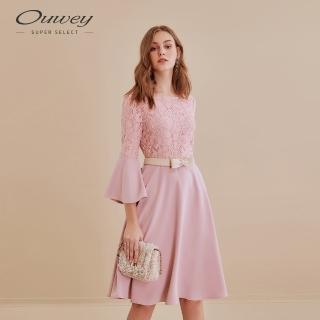 【OUWEY 歐薇】甜美蕾絲拼接喇叭袖洋裝(粉)