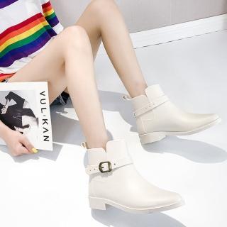 【LN】現貨 韓版金屬扣低筒尖頭雨靴(版型偏小請選大一碼/靴子/雨靴/雨鞋)