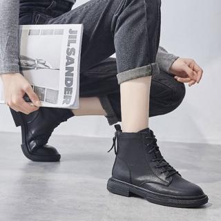 【LN】現貨 率性真皮雙拉鍊平底馬丁靴(靴子/馬丁靴/平底鞋/平底靴)