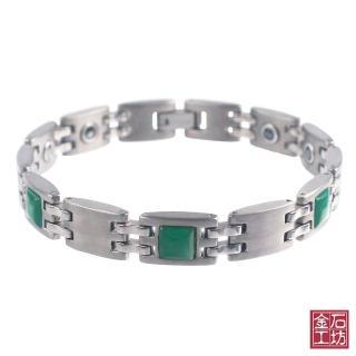 【金石工坊】綠瑪瑙.鈦鍺.黑膽磁石健康能量手鍊