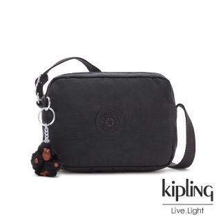 【KIPLING】質感黑簡約造型拉鍊方包-BETHANY/
