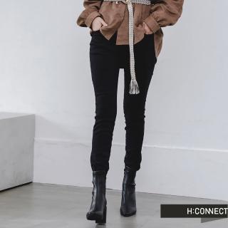 【H:CONNECT】韓國品牌 女裝 -純色直筒合身褲(黑色)
