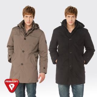【SAMLIX 山力士】PRIMALOFT男輕量化防潑水保暖大衣外套#65314(卡其色.黑色)