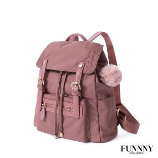 【FUNNNY】質感加厚防潑尼龍後背包 Vanessa 乾燥玫瑰粉
