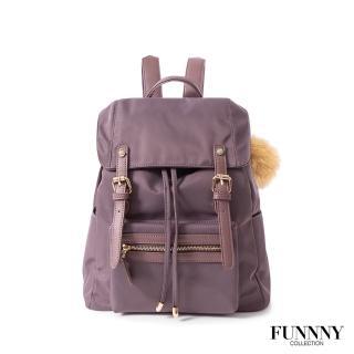 【FUNNNY】質感加厚防潑尼龍後背包 Vanessa 乾燥薰衣草